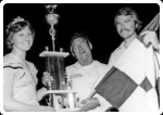 Trophy presentation to stock car winner